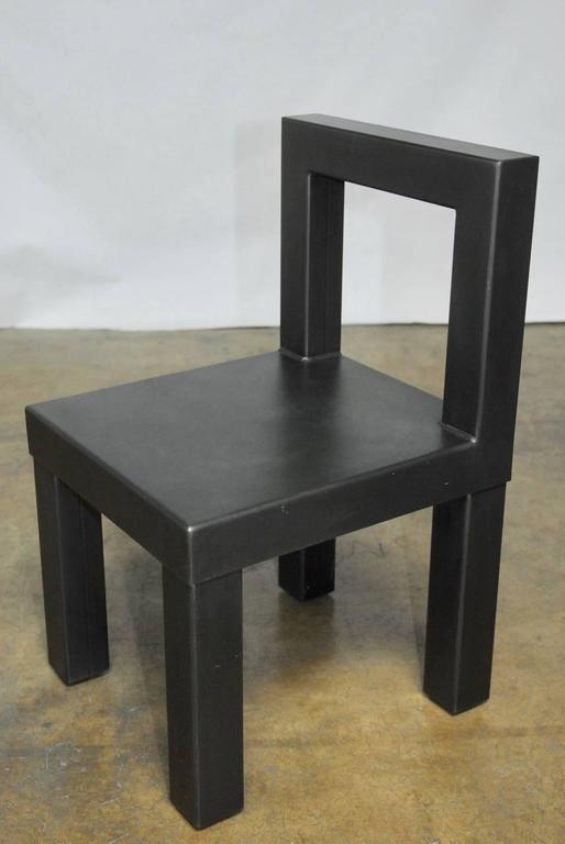 Set of four gunmetal grey steel modern industrial dining for Modern industrial dining chairs