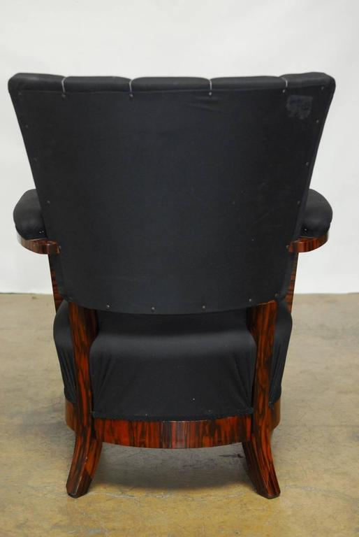 Pair of French Art Deco Macassar Club Chairs For Sale 4