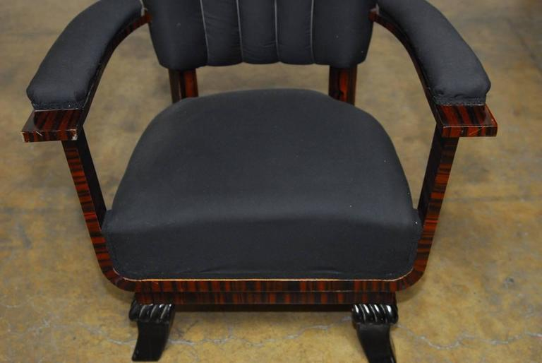Veneer Pair of French Art Deco Macassar Club Chairs For Sale