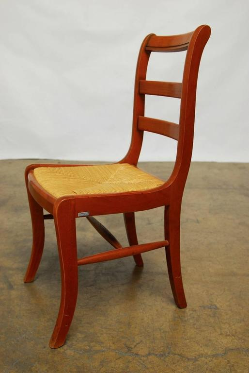 Set Of 45 French Grange Rush Seat Dining Chairs At 1stdibs