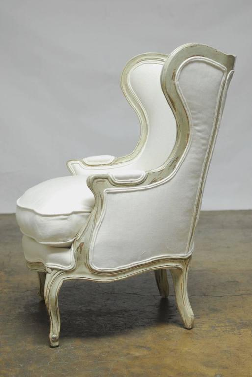 Louis Xv Painted Wing Chair And Ottoman For Sale At 1stdibs