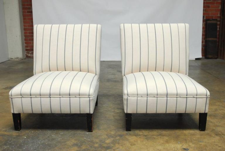 Stylish Pair Of Slipper Chairs Featuring Newly Upholstered Frames In French  Linen With A Blue Stripe