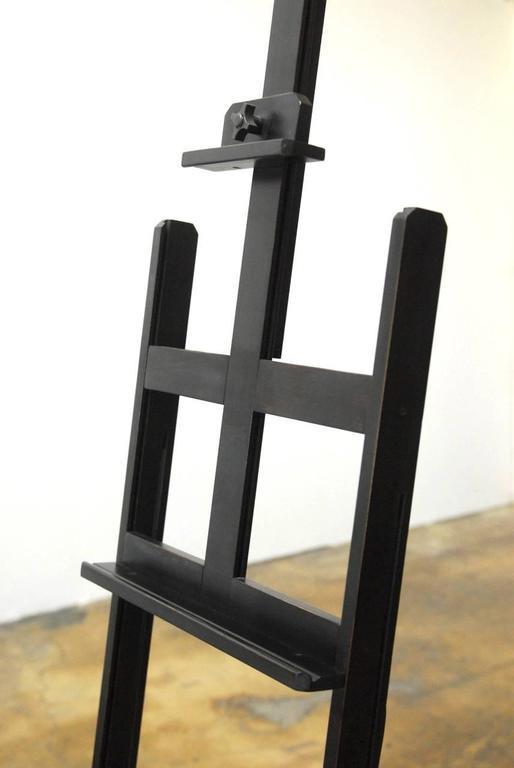 Ebonized Art Display Floor Easel With Brass Light At 1stdibs