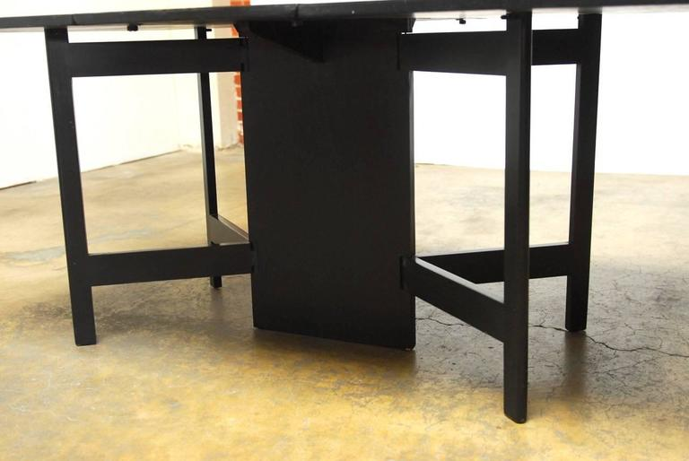 Ebonized George Nelson for Herman Miller Drop-Leaf Dining Table For Sale