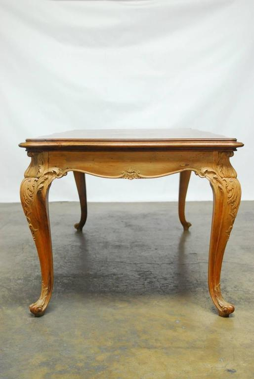 Oak French Louis XV Period Circassian Walnut Burl Dining Table For Sale