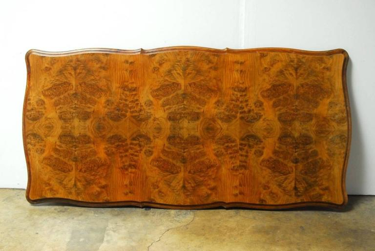 Hand-Carved French Louis XV Period Circassian Walnut Burl Dining Table For Sale