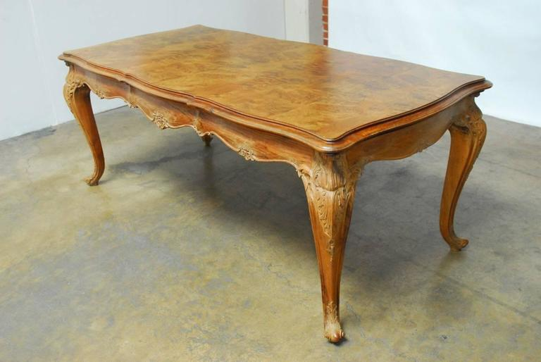 18th Century and Earlier French Louis XV Period Circassian Walnut Burl Dining Table For Sale