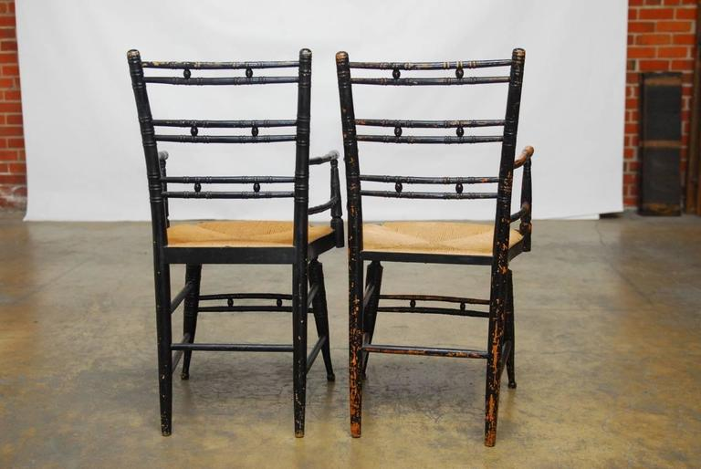Pair of 19th Century Faux-Bamboo Hitchcock Style Armchairs For Sale 3