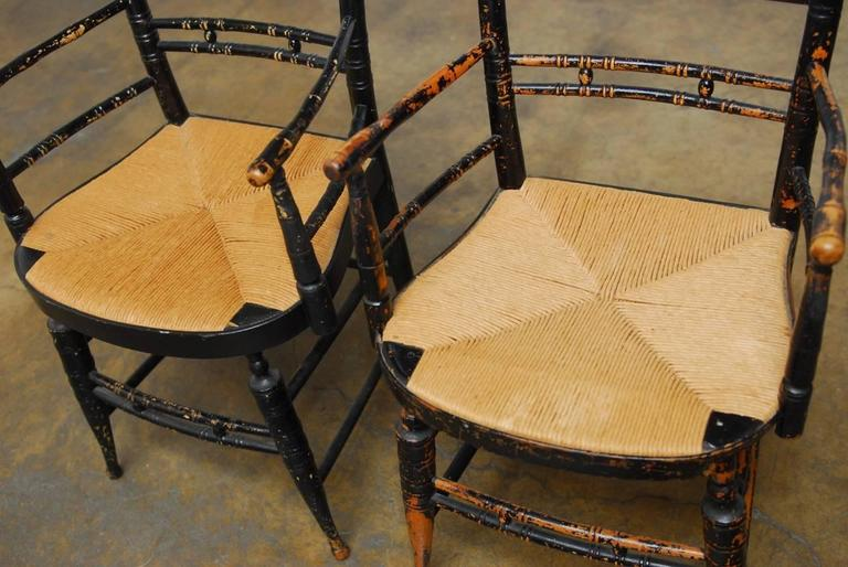 Pair of 19th Century Faux-Bamboo Hitchcock Style Armchairs For Sale 1
