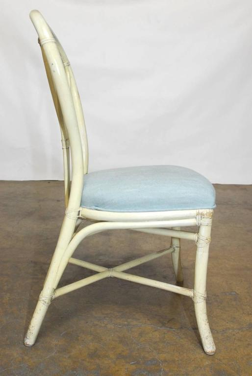 American Set of Four McGuire Lacquered Rattan Bistro Chairs For Sale