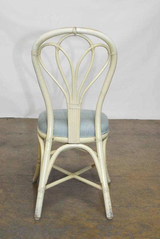 Hand-Crafted Set of Four McGuire Lacquered Rattan Bistro Chairs For Sale