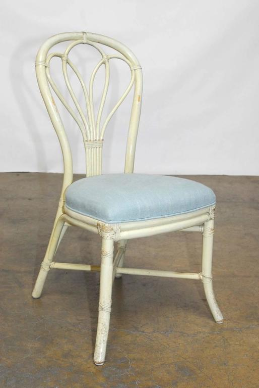 Chic Set Of Four McGuire Bamboo Rattan Bistro Style Chairs Featuring A  Distressed Lacquer Finish With