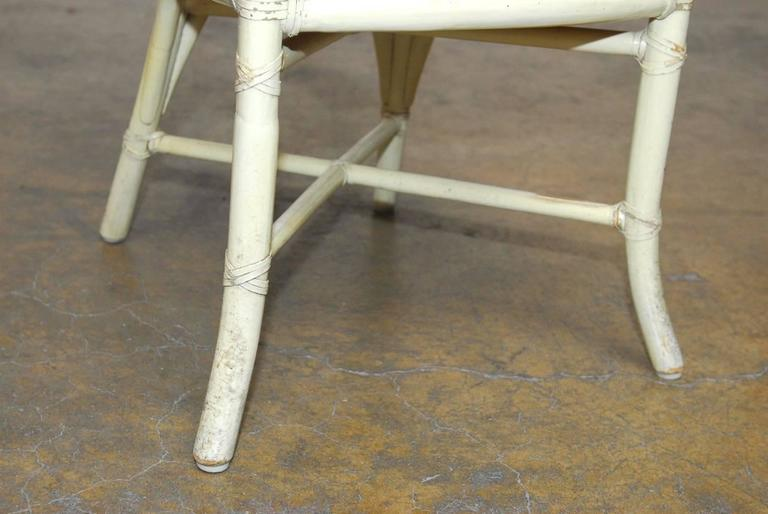 20th Century Set of Four McGuire Lacquered Rattan Bistro Chairs For Sale