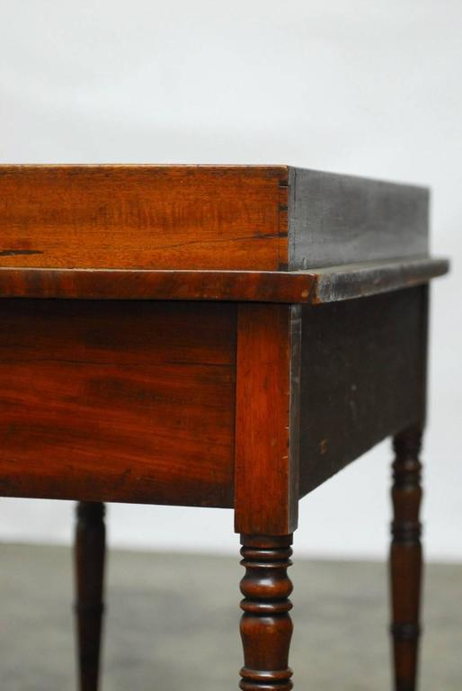 Brass 19th Century English Mahogany Writing Table For Sale