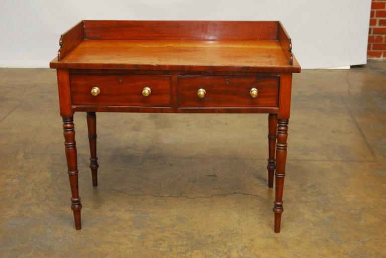 19th Century English Mahogany Writing Table In Good Condition For Sale In Oakland, CA