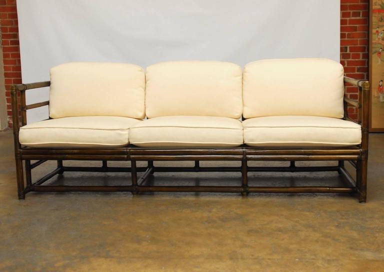 American Organic Modern Bamboo Case Sofa By McGuire For Sale