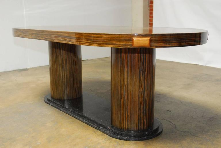 Modern Italian Zebrawood Conference Table or Dining Table In Good Condition For Sale In Rio Vista, CA
