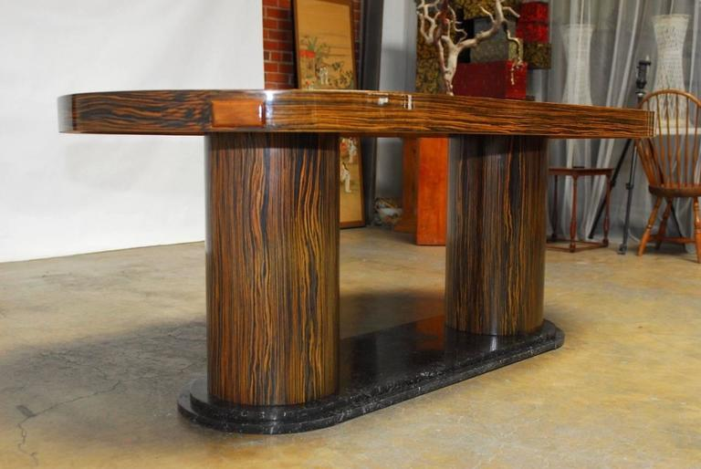 20th Century Modern Italian Zebrawood Conference Table or Dining Table For Sale