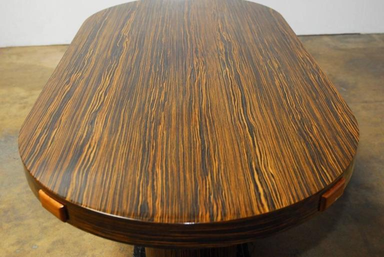 Hand Crafted Modern Italian Zebrawood Conference Table Or Dining For