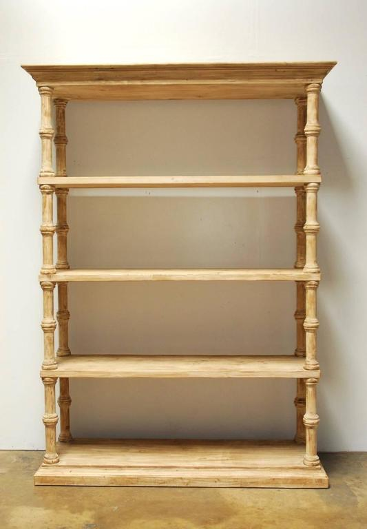 Rustic Washed Pine Four Shelf Etagere Bookcase For Sale At