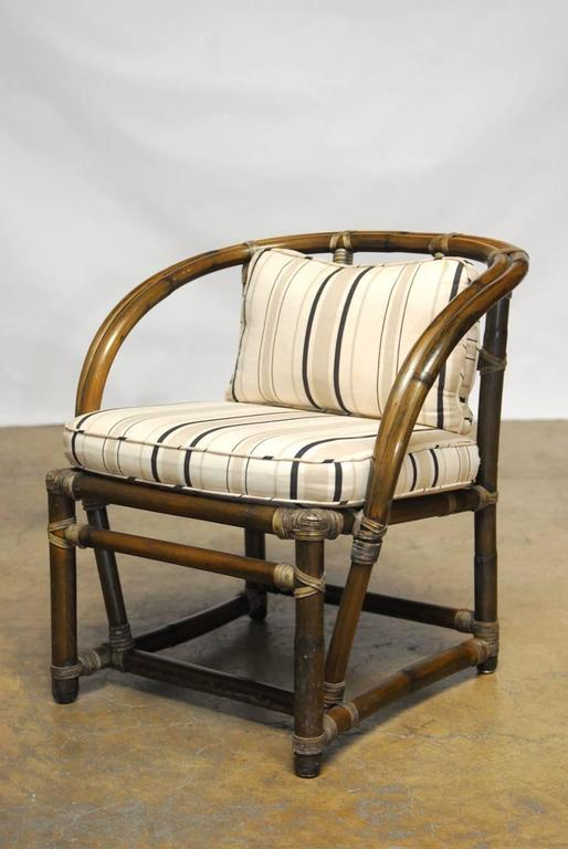 Pair Of Bamboo Barrel Back Chairs By Mcguire At 1stdibs