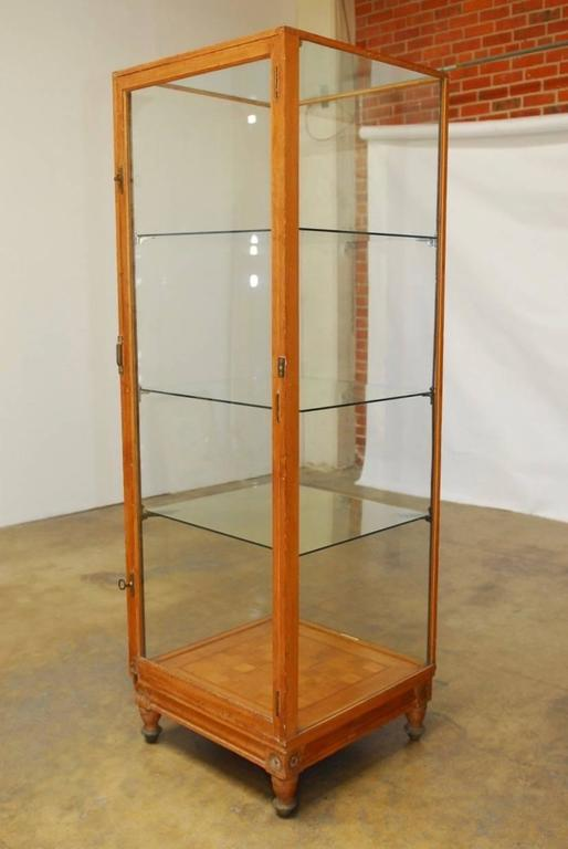 Fantastic 19th Century English Oak Haberdashery Display Cabinet Or Vitrine  Produced By Frederick Sage And Company