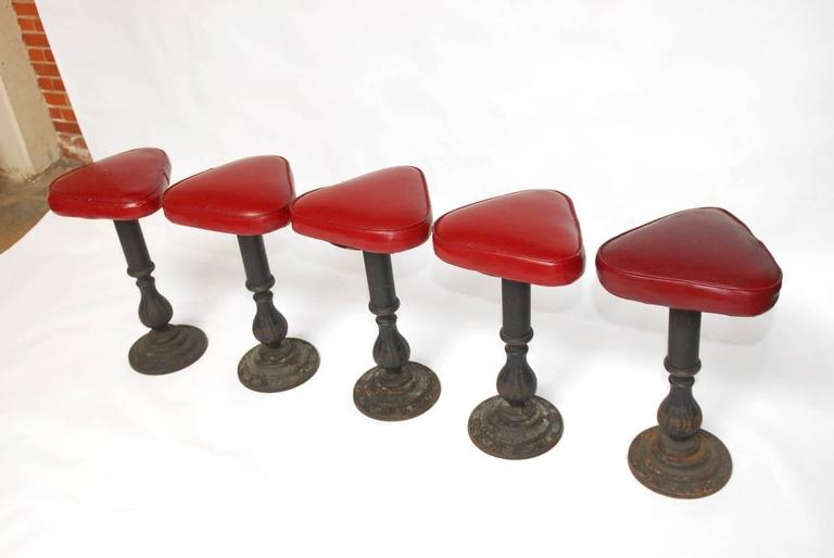 Set of Five Victorian Cast Iron Parlor Barstools 2