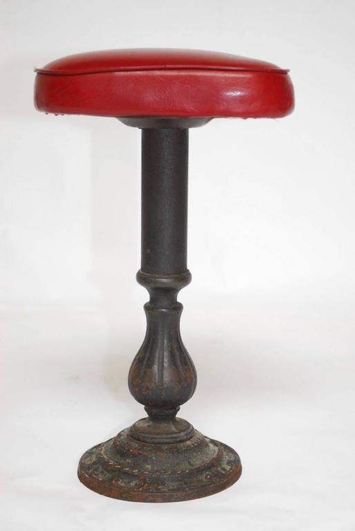 20th Century Set Of Five Victorian Cast Iron Parlor Barstools For