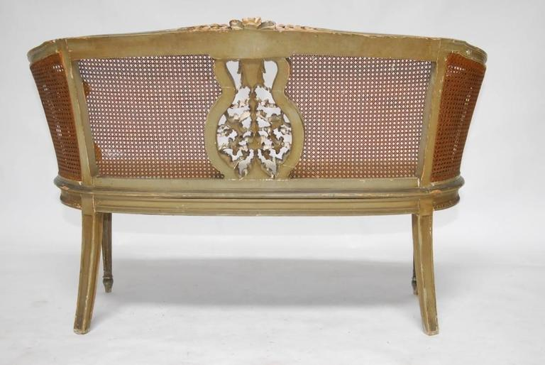 French Louis XVI Cane Settee Canape en Corbeille For Sale 5