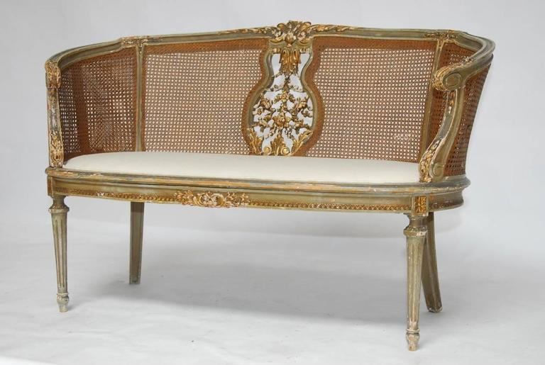 Hand-Carved French Louis XVI Cane Settee Canape en Corbeille For Sale