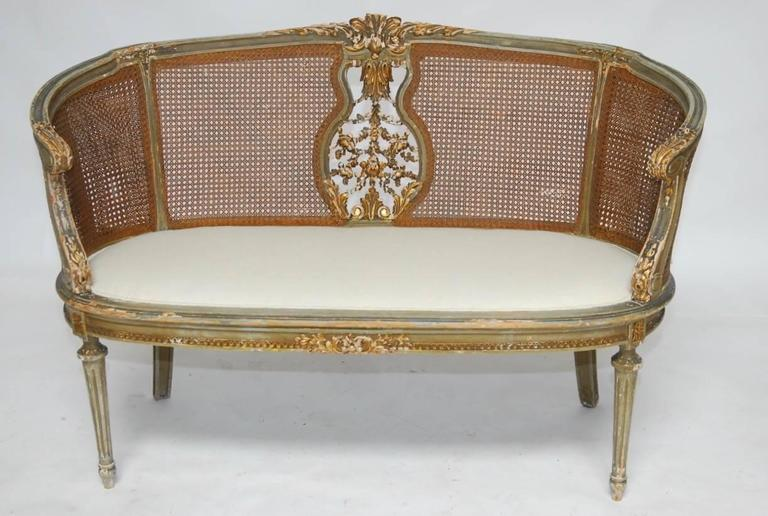 French Louis XVI Cane Settee Canape en Corbeille For Sale 1