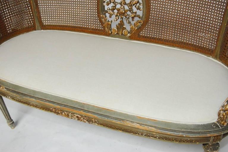 19th Century French Louis XVI Cane Settee Canape en Corbeille For Sale