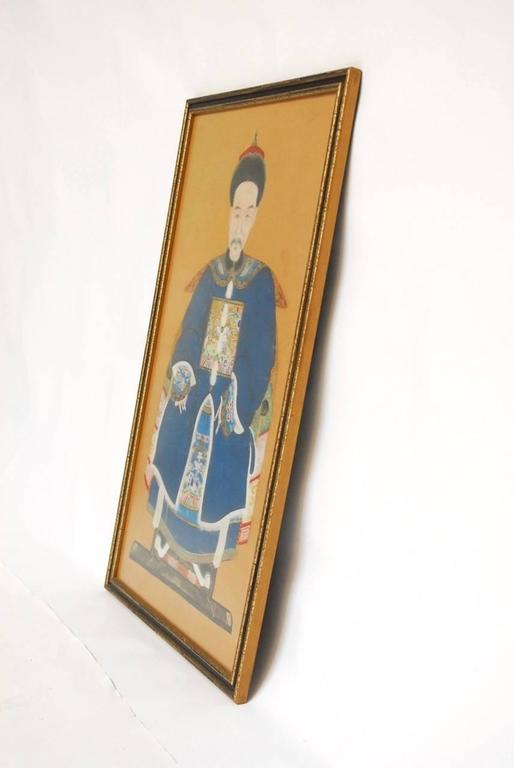 Chinese Qing Dynasty Ancestral Portrait In Excellent Condition For Sale In Oakland, CA