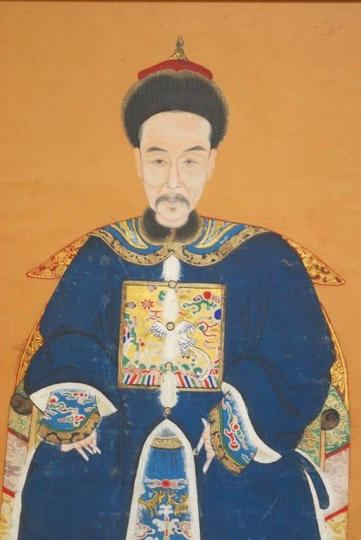 Hand-Painted Chinese Qing Dynasty Ancestral Portrait For Sale