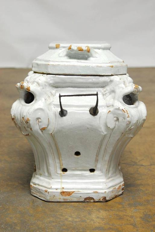 Rustic 19th Century French Earthenware Censer or Small Stove For Sale