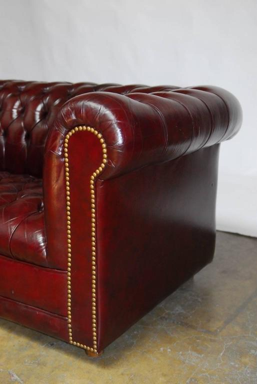 English Cordovan Tufted Leather Chesterfield Sofa At 1stdibs