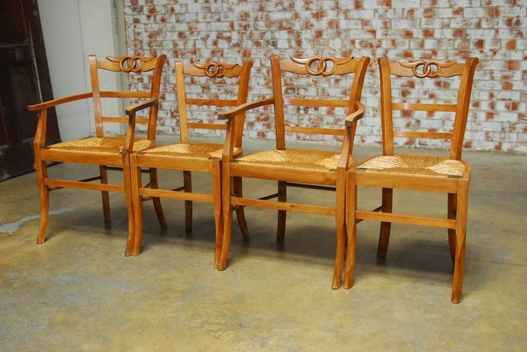 Set Of Four French Provincial Rush Seat Dining Chairs At
