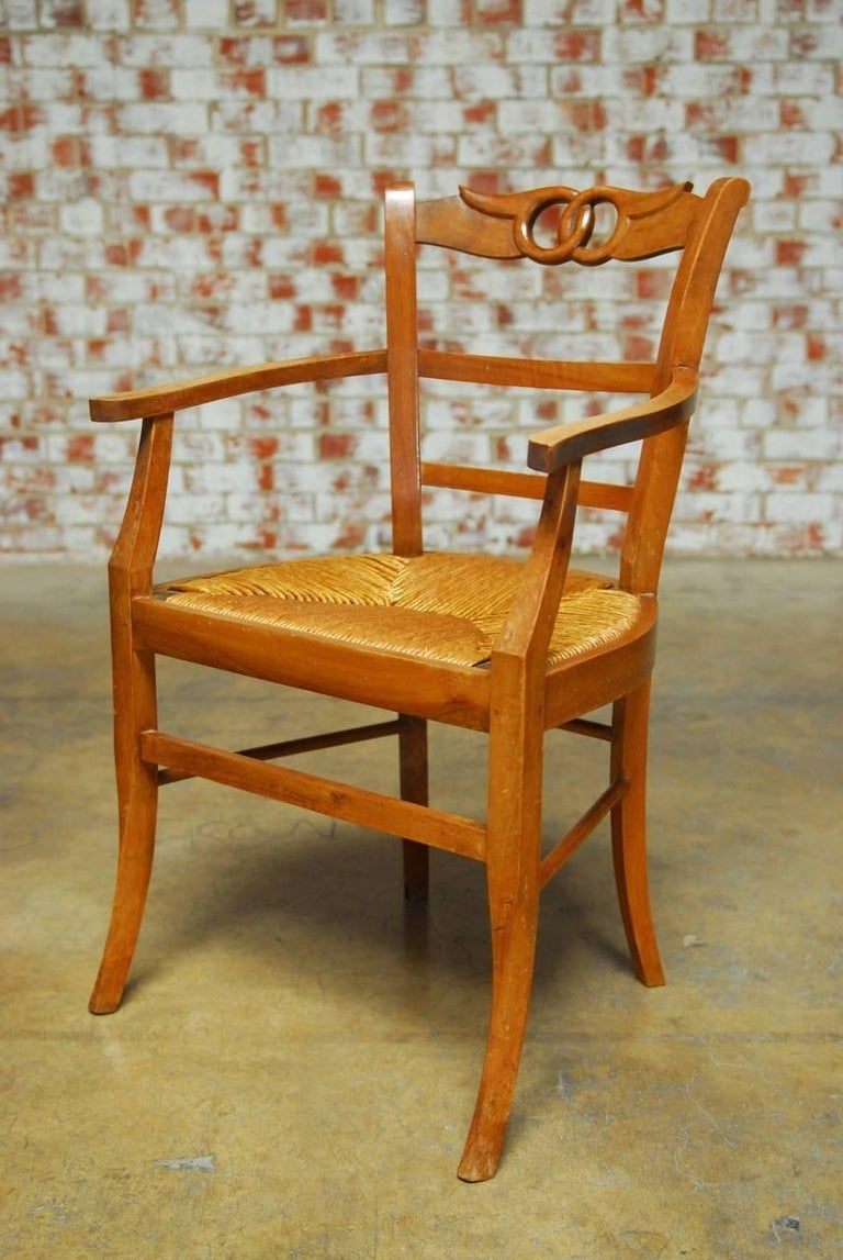 Set of Four French Provincial Rush Seat Dining Chairs at ...
