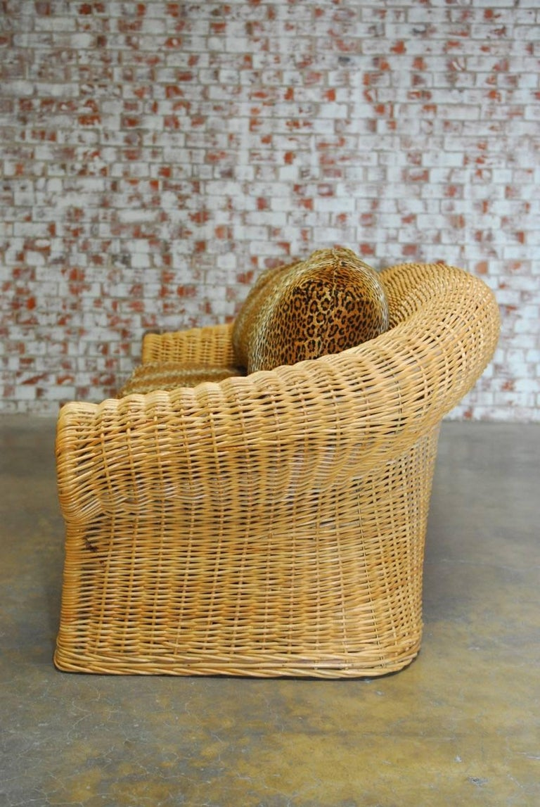 Michael Taylor Inspired Wicker Sofa With Scalamandre Style