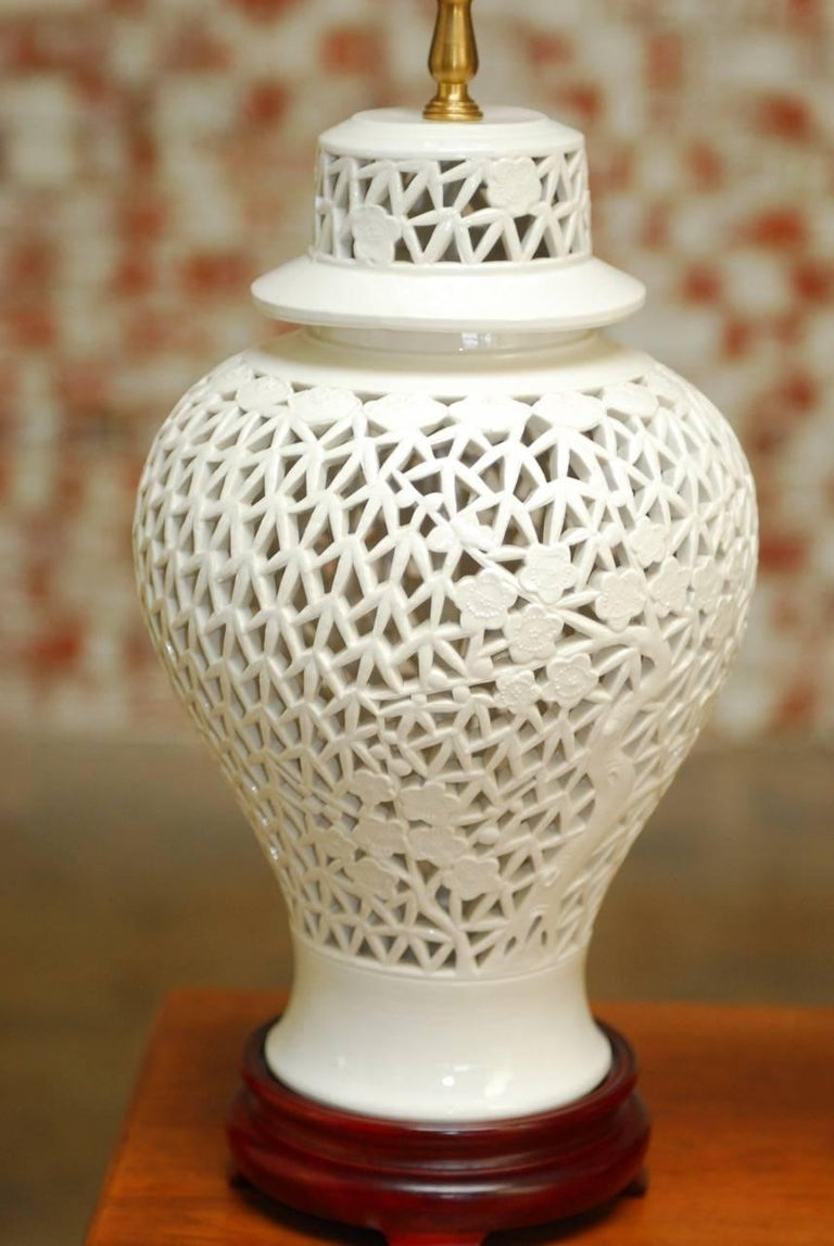 Pair Of Blanc De Chine Porcelain Ginger Jar Table Lamps At