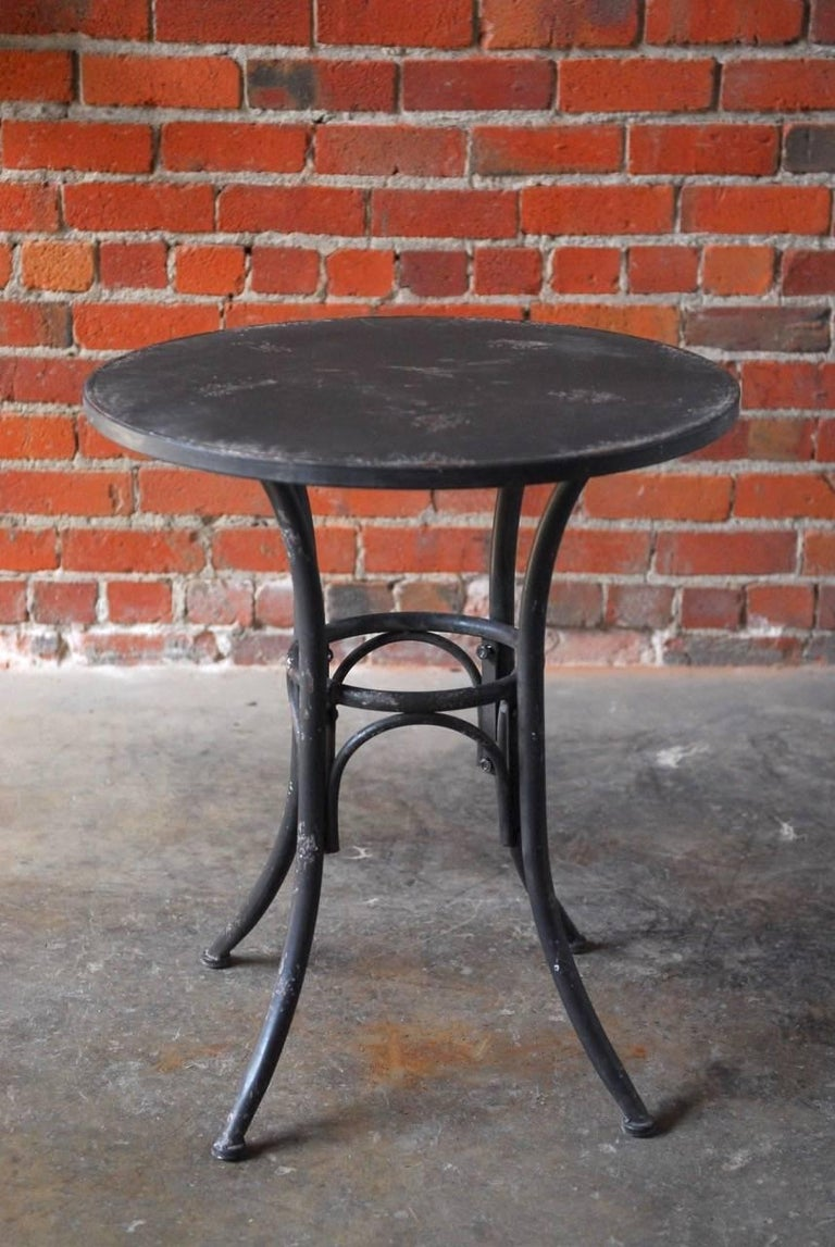 Distressed Metal Patio Bistro Table At 1stdibs
