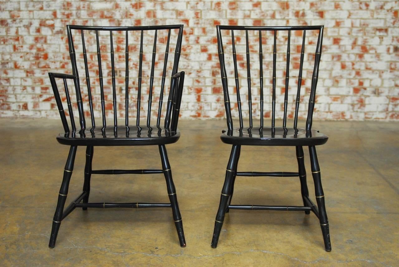 American Pair Of Black Lacquer And Faux Bamboo Windsor Chairs Produced By  Nichols And Stone,