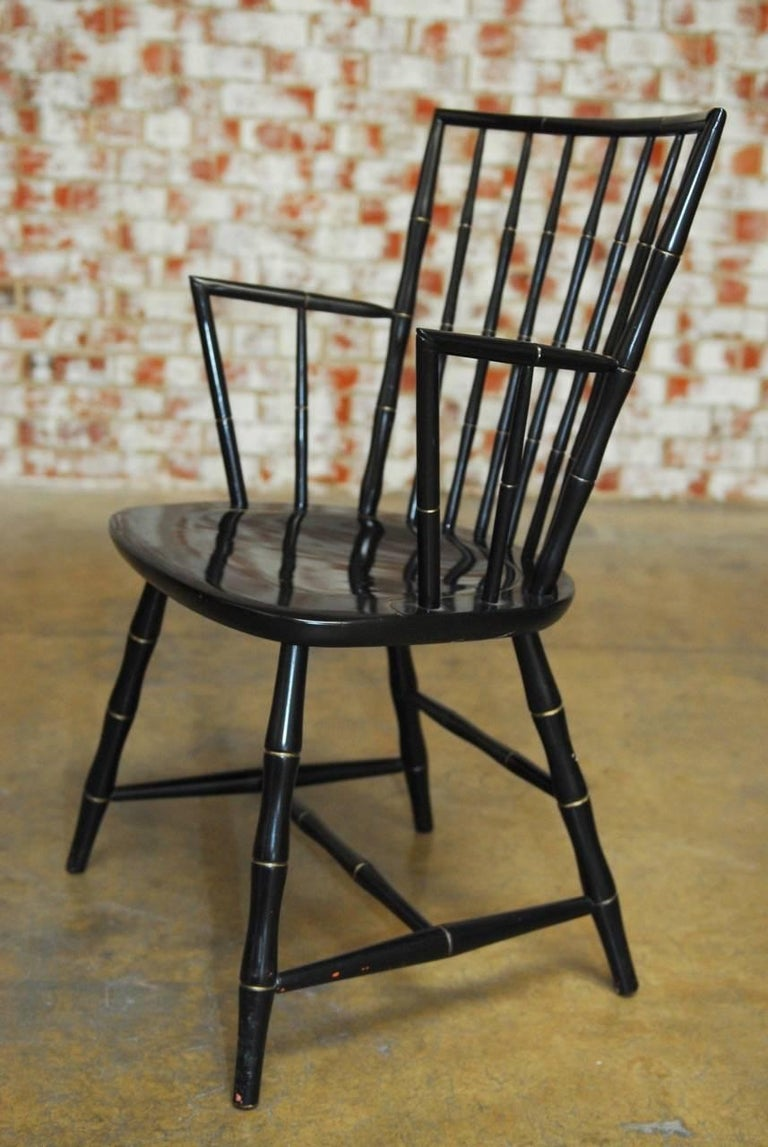 Pair Of Black Lacquer Faux Bamboo Windsor Chairs By