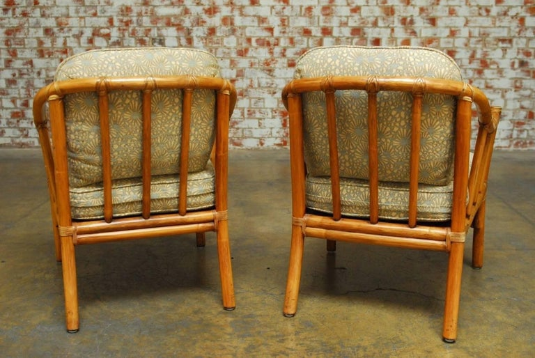 Pair of Organic Modern Bamboo Lounge Chairs by McGuire For Sale 2