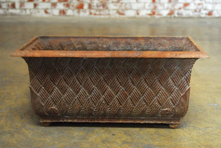 Art Deco Pair of English Cast Iron Rectangular Jardinieres or Planters For Sale