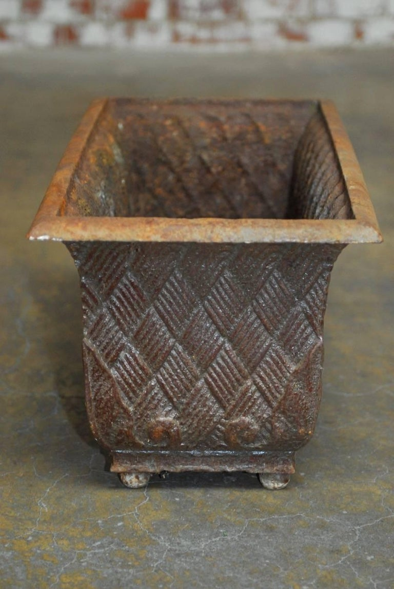 20th Century Pair of English Cast Iron Rectangular Jardinieres or Planters For Sale