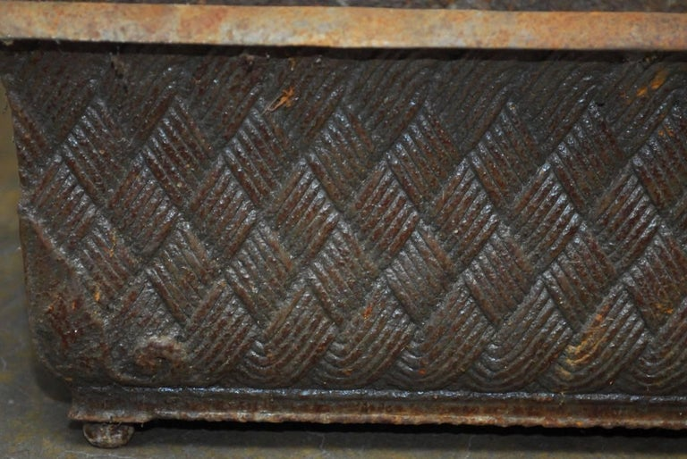 Pair of English Cast Iron Rectangular Jardinieres or Planters For Sale 2