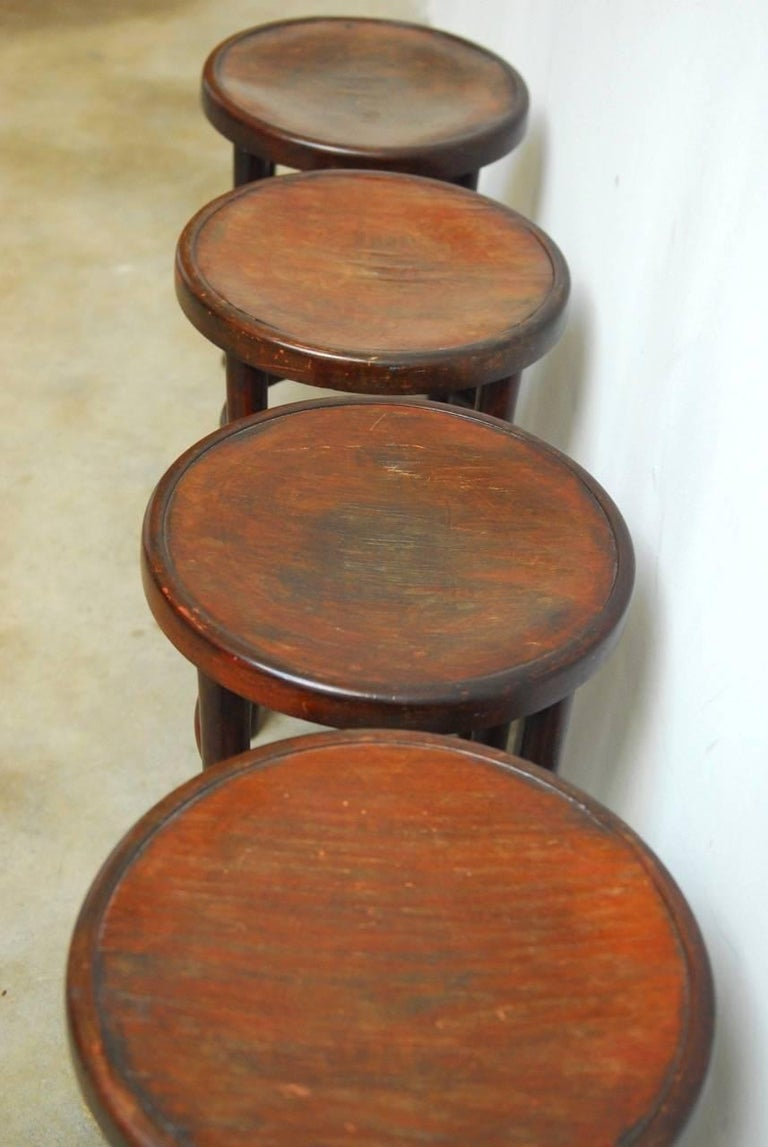 Set Of Four Gebruder Thonet Bentwood Bistro Stools For