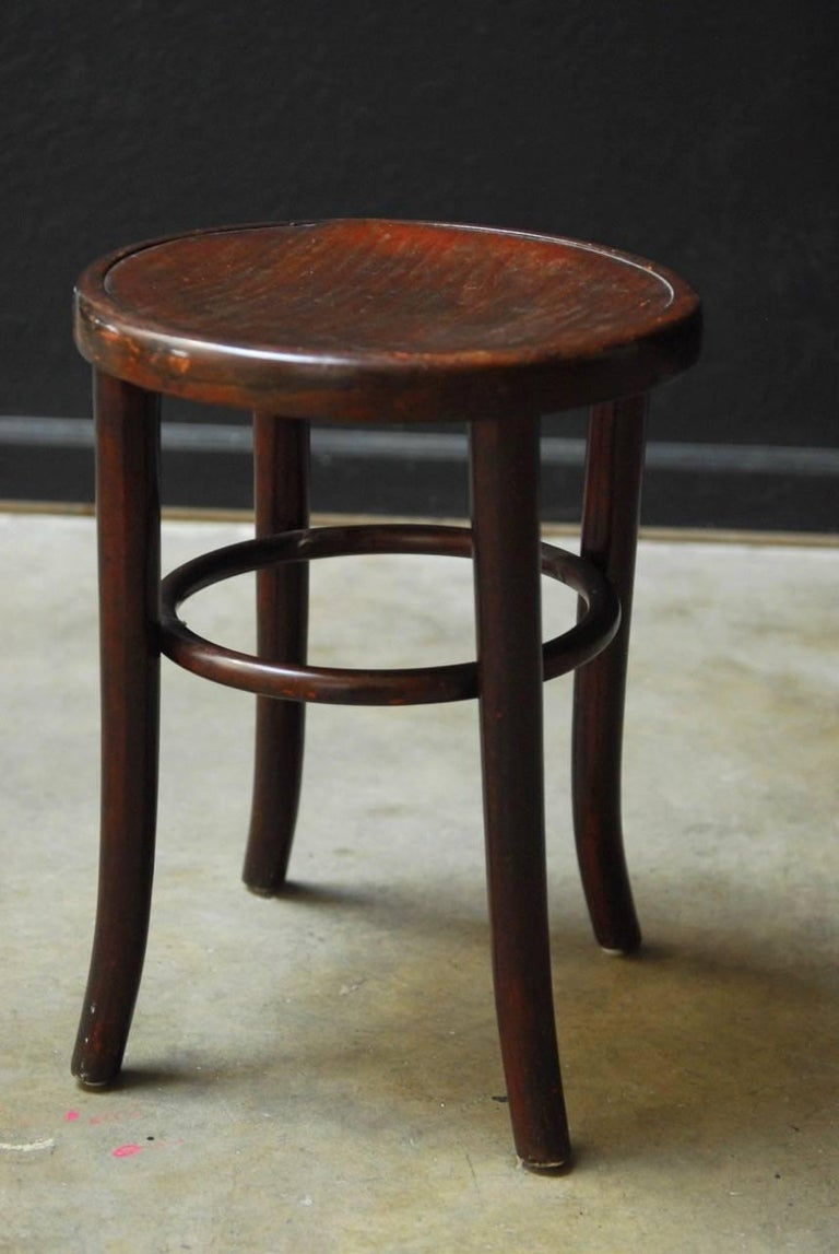 Set Of Four Gebruder Thonet Bentwood Bistro Stools At 1stdibs