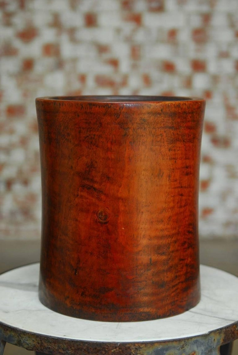 Qing 19th Century Monumental Chinese Carved Rosewood Brush Pot  For Sale